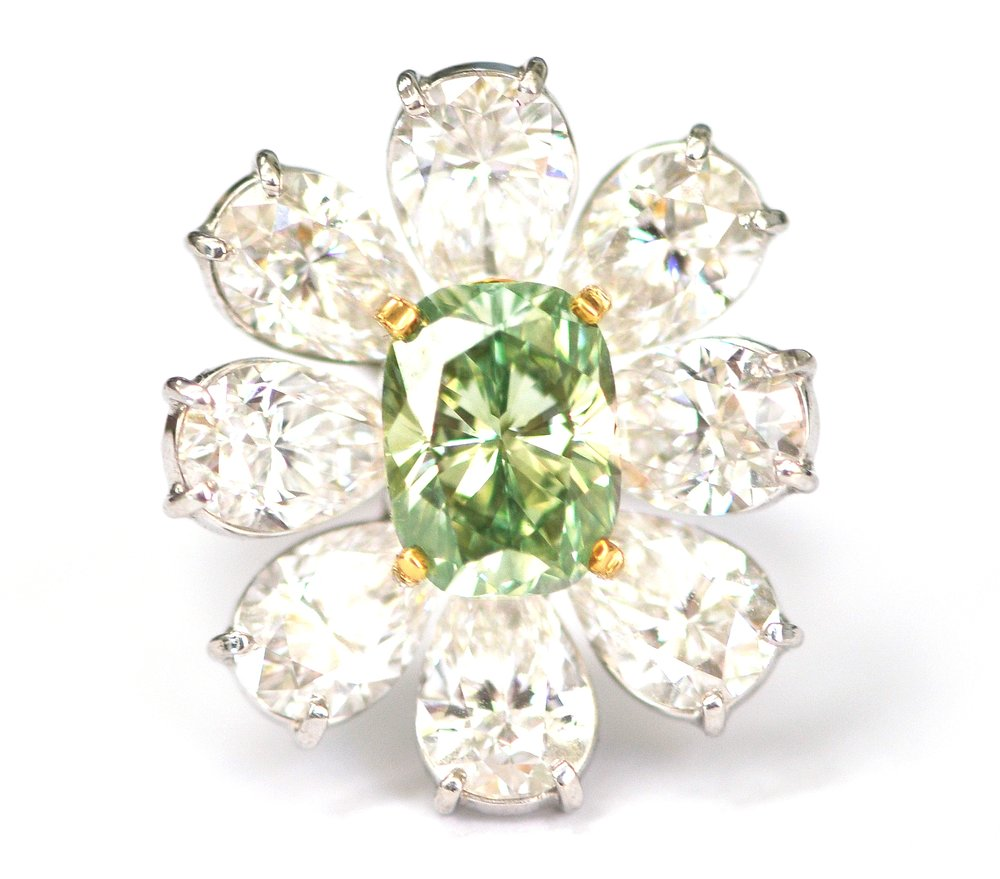 Intense Green and White Diamond Ring