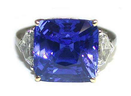 Unheated Burma Sapphire and Diamond Ring
