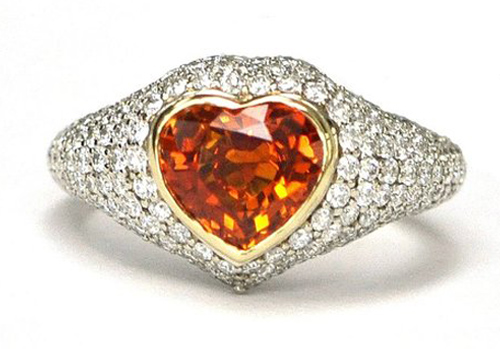 Orange Sapphire and Diamond Ring