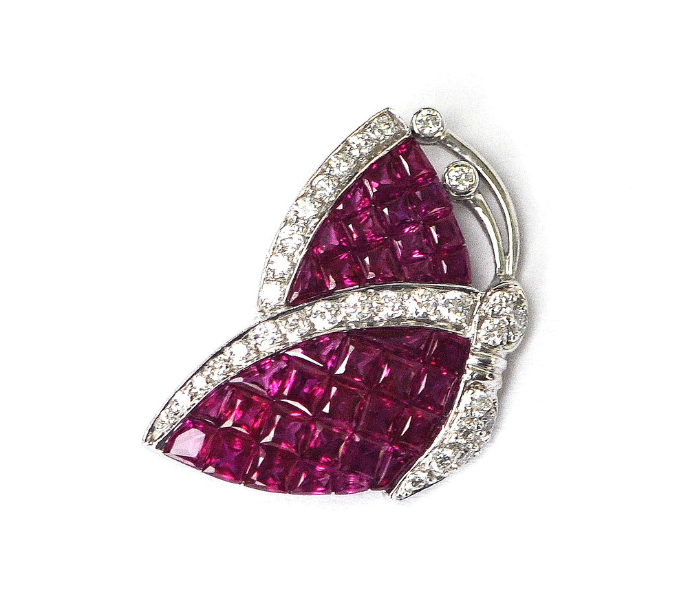 Ruby & Diamond Butterfly Pin