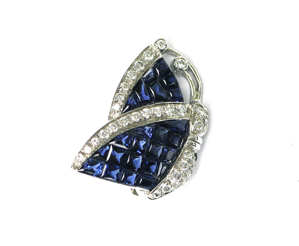 Sapphire and Diamond Butterfly Pin
