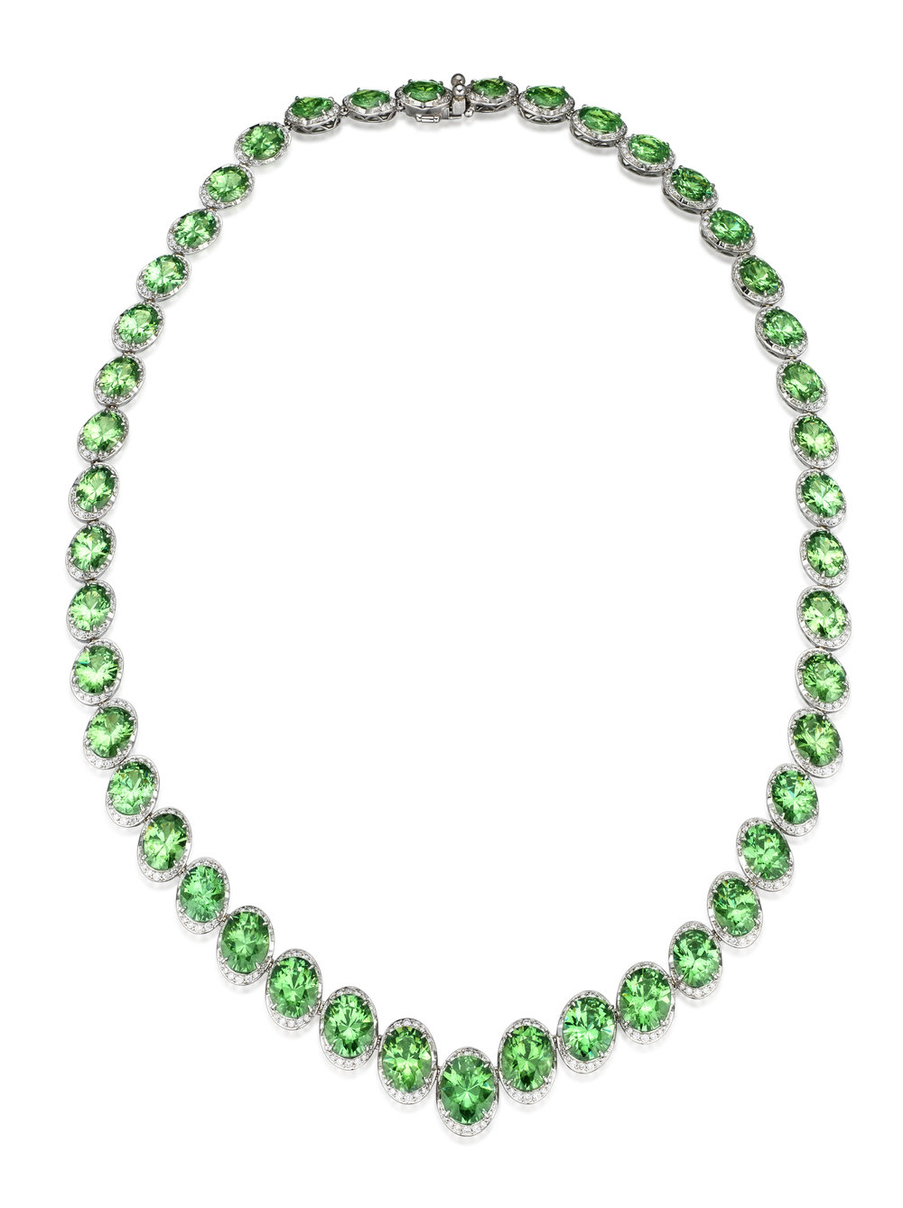Demantoid Garnet and Diamond Necklace