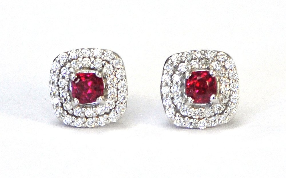 Red Spinel & Diamond Earrings