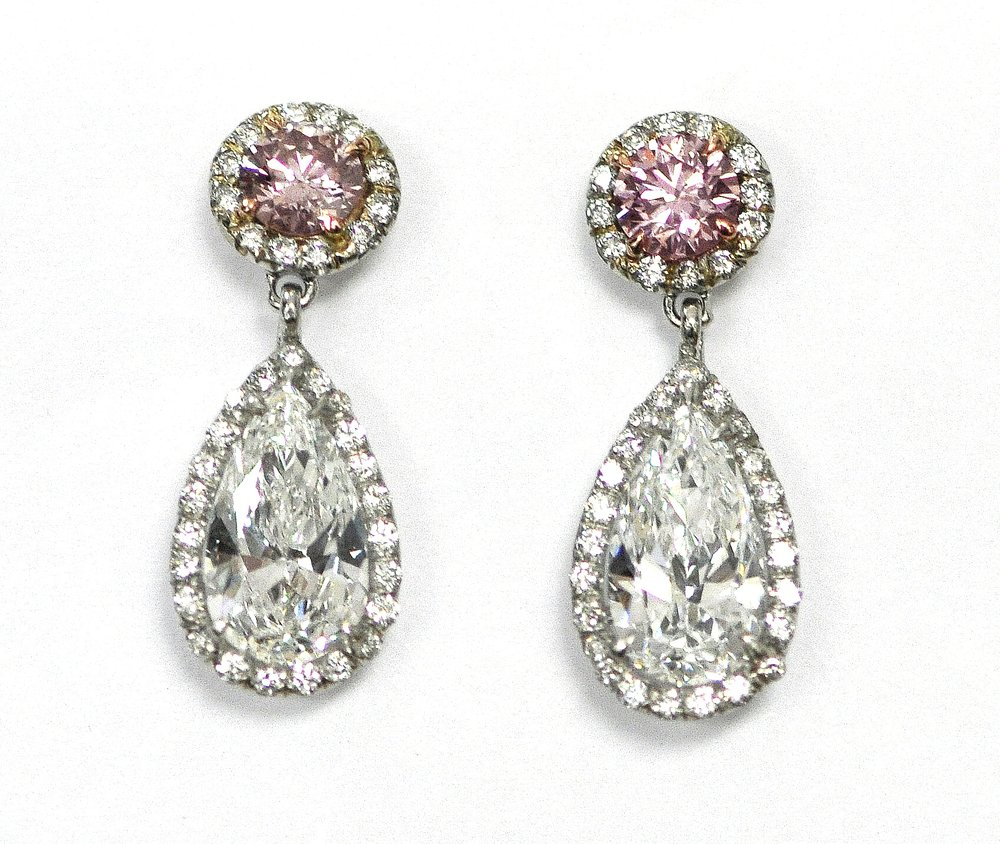 White & Pink Diamond Earrings