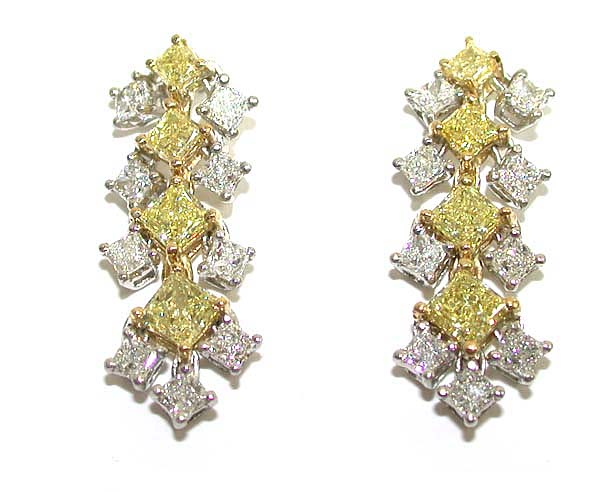 Yellow & White Diamond Earrings