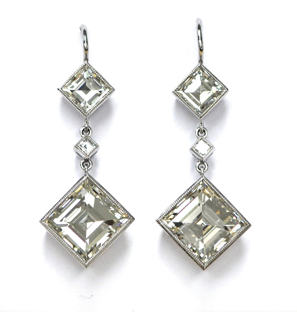 10ct Square Cut Diamond Earrings