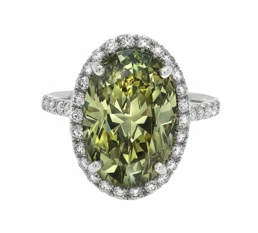 7ct Green Diamond Ring