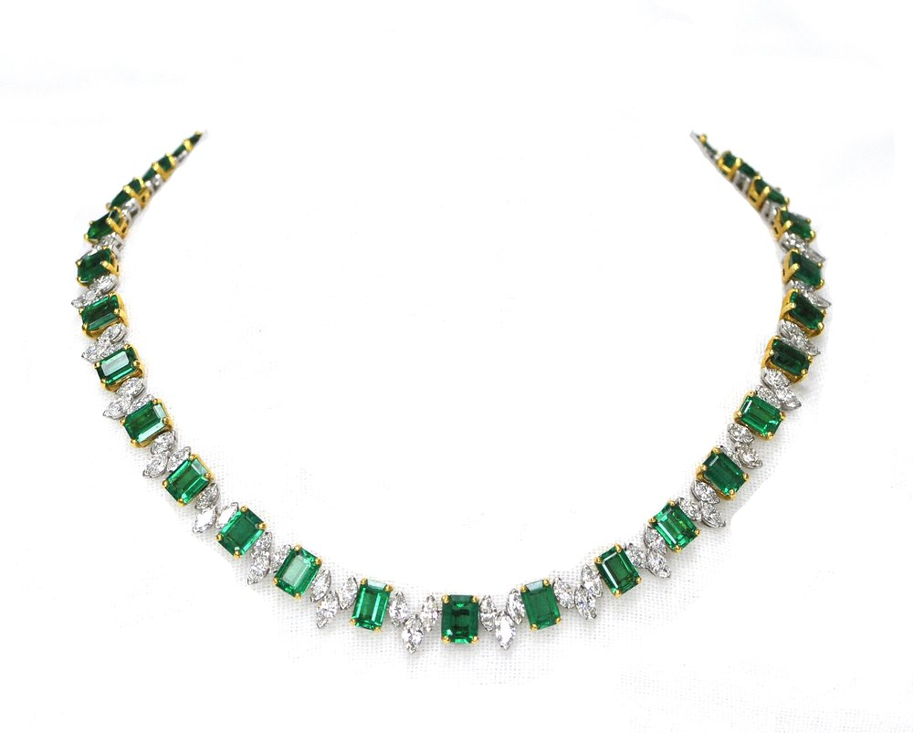 30ct Emerald & Diamond Heyman Necklace