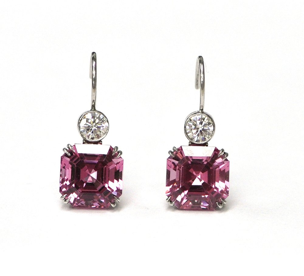 Spinel & Diamond Earrings