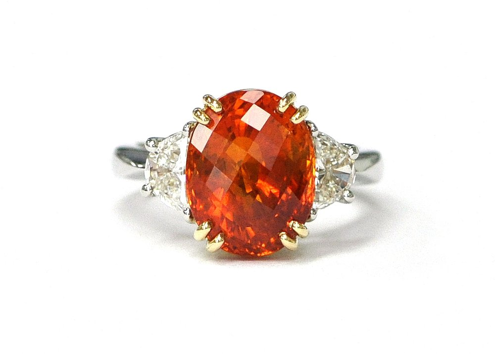 Pumpkin Orange Sapphire & Diamond Ring