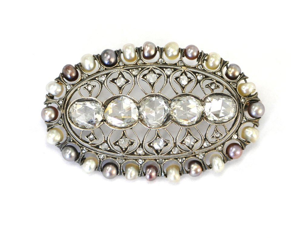 Victorian Diamond & Pearl Brooch