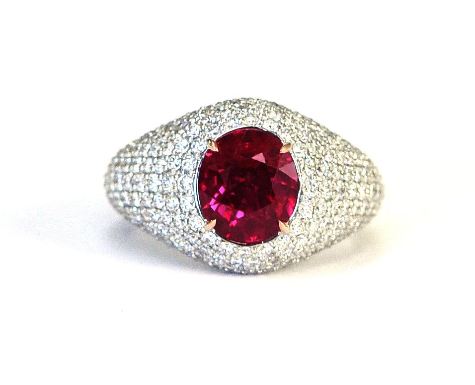 Unheated Ruby & Diamond Ring