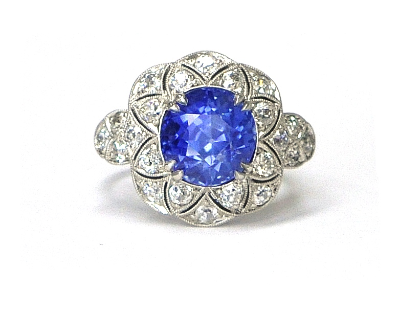 6ct Kashmir Sapphire & Diamond Ring