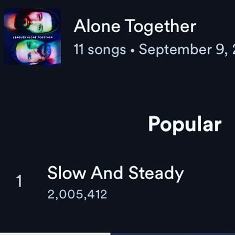 What?!! 2 MILLION plays of Slow and Steady on @spotify !! It's surprising to me what songs connect.  I played this for Jeremy while we were mixing the album and told him that I had written a song for my next solo album.  He heard it and said it was going on the Leagues record.  And so it was!  What other songs are you connecting with now that it's been out a few months?  #slowandsteady