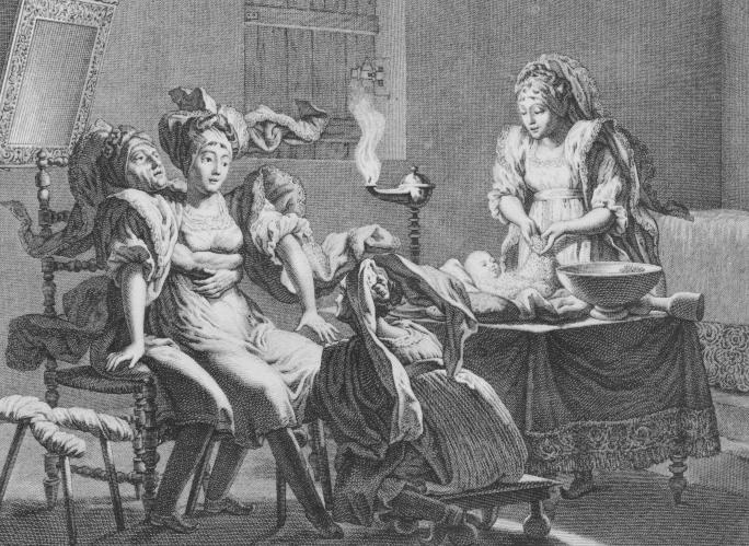 """Greek Island Birth,"" Manoncourt, 1801. Dig the birth stool?"