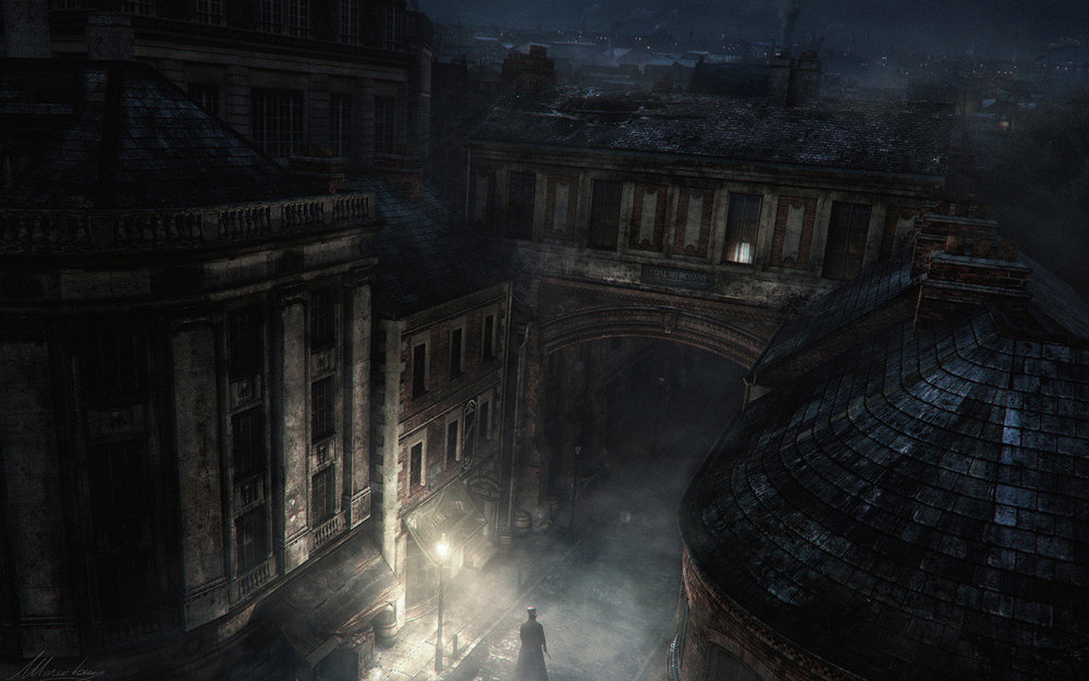 JACK'S LONDON Always fascinated by Jack the Ripper mystery case i created these concepts / illustrations to explore lighting and mood of those infamous East End London streets - 2D painting over 3D renders - Maya / Arnold / Vue / Photoshop