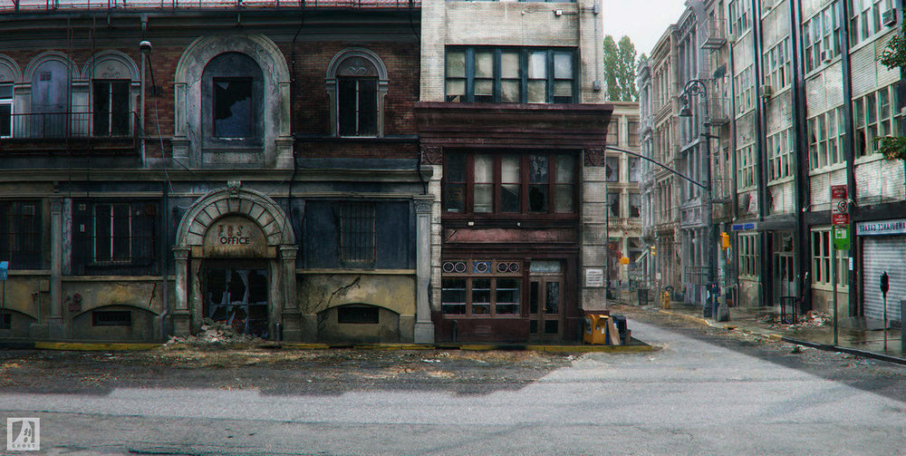 COLONY Ghost VFX - USA Network - Matte Painting - Plates shot on Backlot - Photoshop