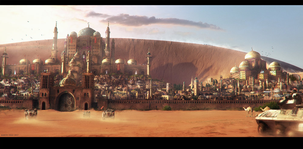 ENTERING GOLDEN CITY    - A view on a middle-east fictitious city hidden in the desert  -  Vue / Photoshop