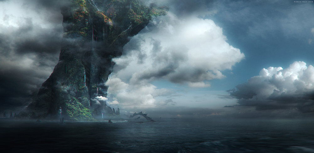 """HALCYON     - """"The Island"""" - Concept Art for a Short story pitch   by Hubert Daniel at  BLUR Studios  -   Photoshop / Vue / Maya"""
