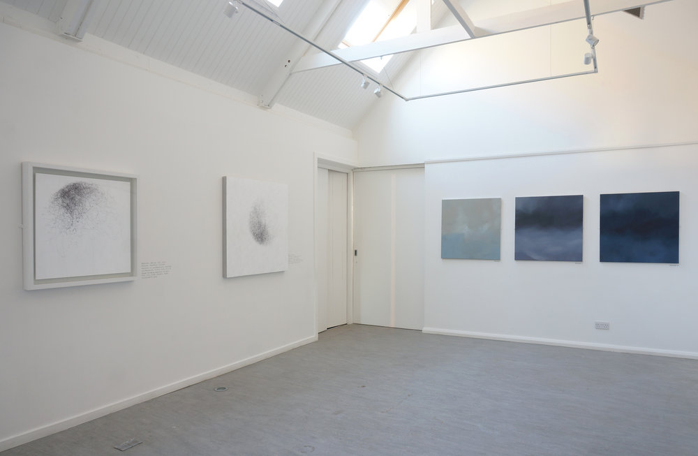 Elemental, Taigh Chearsbhagh, Gallery 2 - Meg Rodger, Wind Drawings (Ink on Paper) with Peter Ferguson, Skyscape (Oil on canvas).