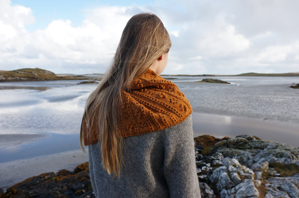 Machair Wildflower Shawl  designed for  The Birlinn Yarn Company  by  Emma Vining  show in  Moor 4Ply .