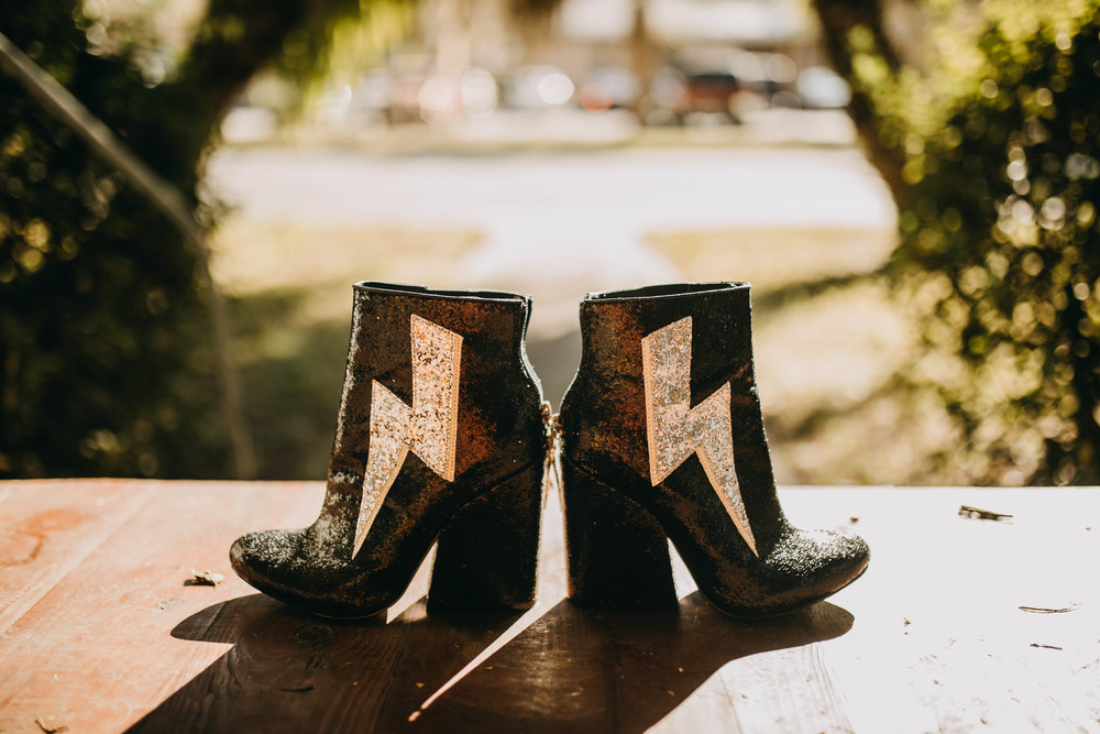 Unique Bride Shoes | American Traditional Tattoo Themed Eco Friendly Dark Florida Wedding