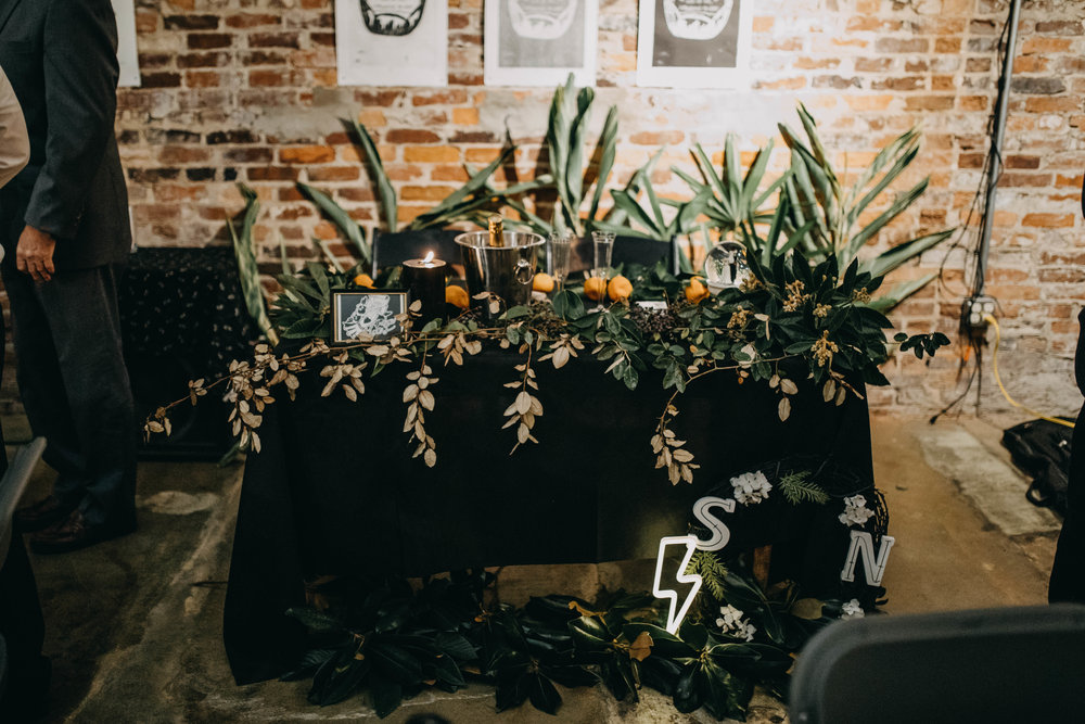 Head Table with Unique Decor | American Traditional Tattoo Themed Eco Friendly Dark Florida Wedding