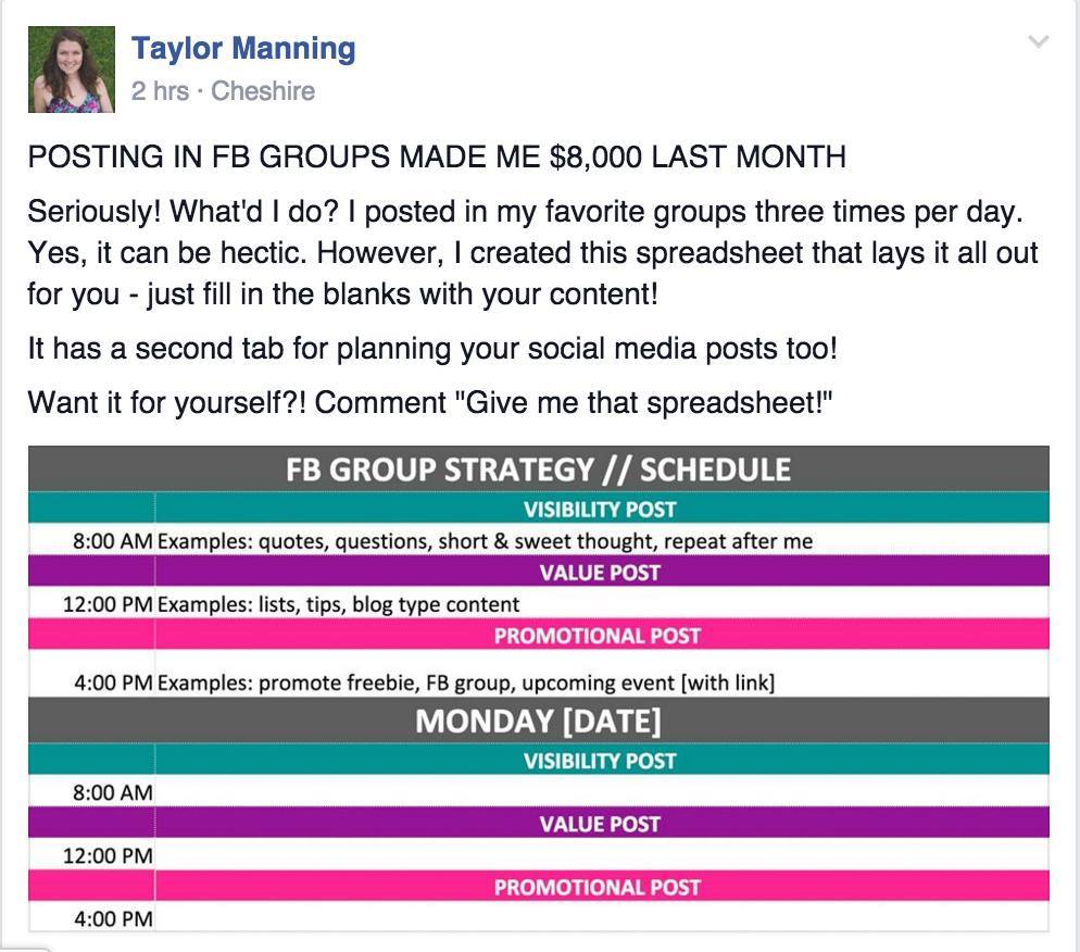 Screenshot Facebook Group Strategy