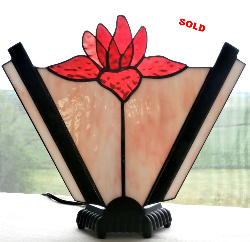 "Water Lily Fan Lamp ~ 9.5"" x 11"""