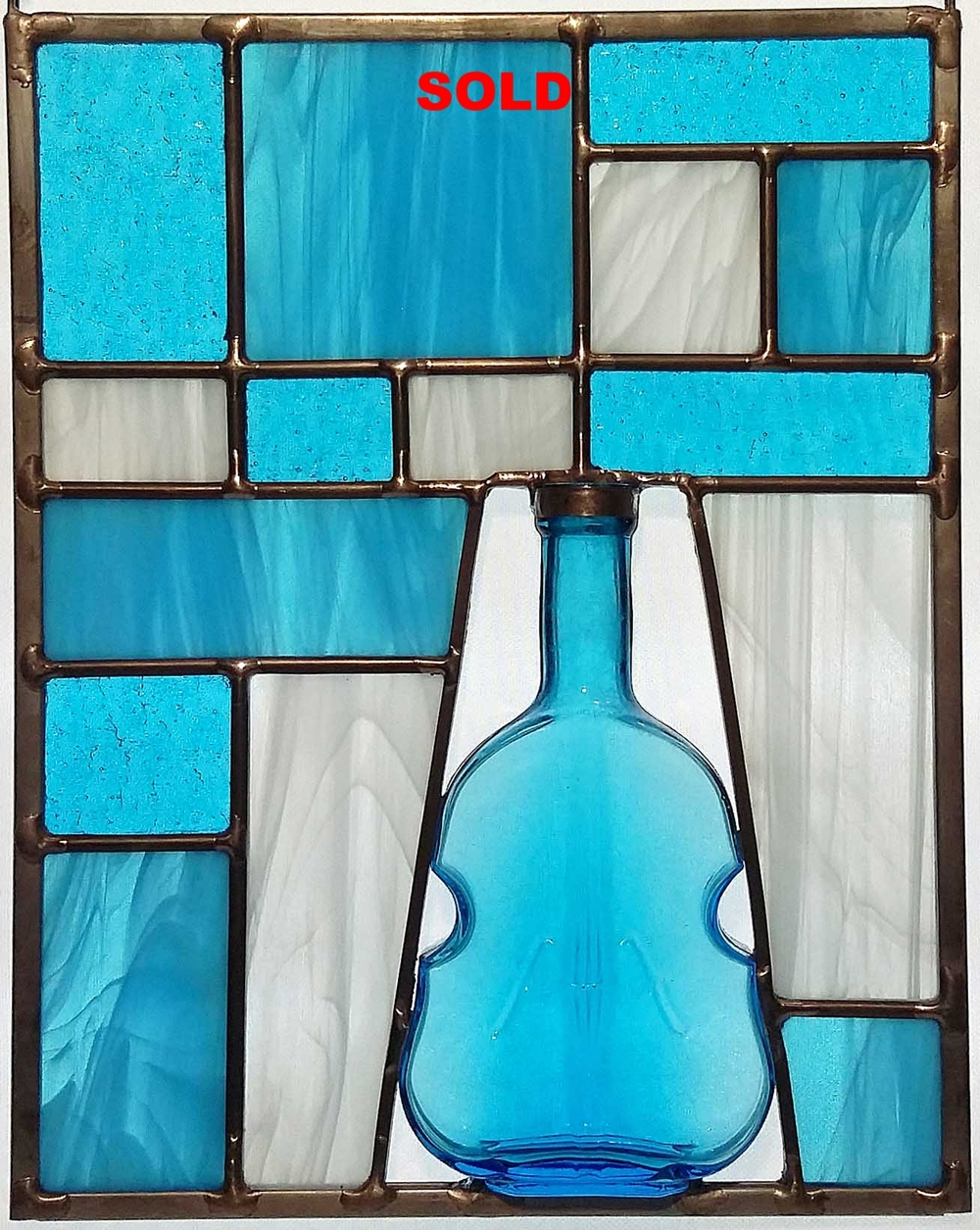 "Vintage Blue ""Cello"" Bottle ~ 8"" x 10"""