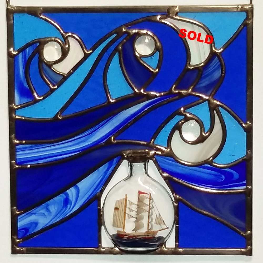 "3.5"" Ship in a Bottle ~ 8.5"" x8.5"""