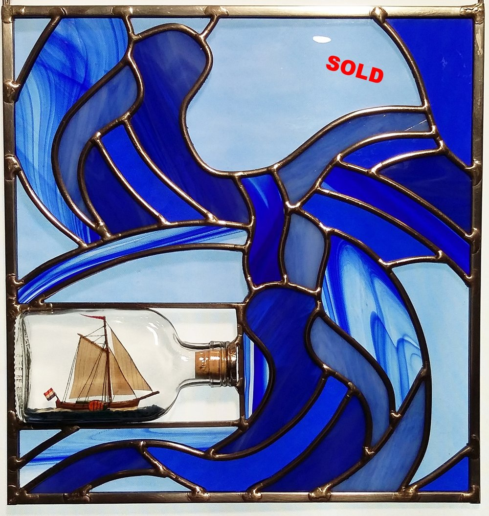"Dutch Ship in a Bottle ~ 10.5"" x 11"""