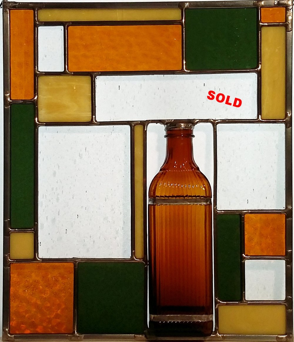 "Tall Amber Bottle Panel ~ 10"" x 12"" ~ $120"