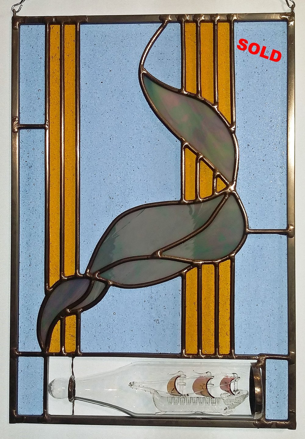 "Glass-Blown Ship in a panel ~ 9"" x 13"" ~ $165"
