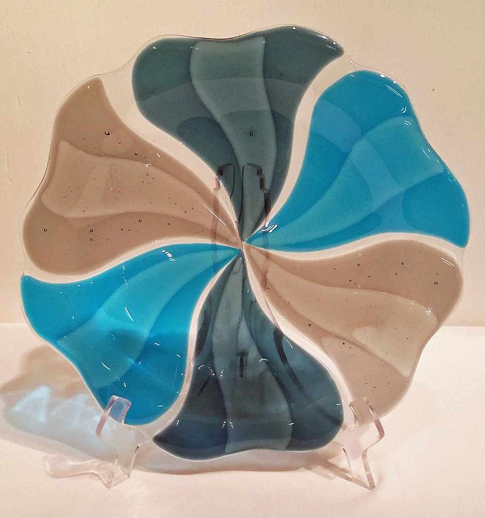 "Smoky Blue Pinwheel Bowl ~ 12"" Round ~ $125"