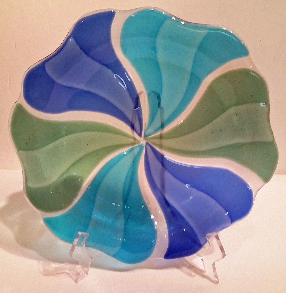 "Blues & Green Pinwheel Bowl ~ 12"" Round ~ $125"