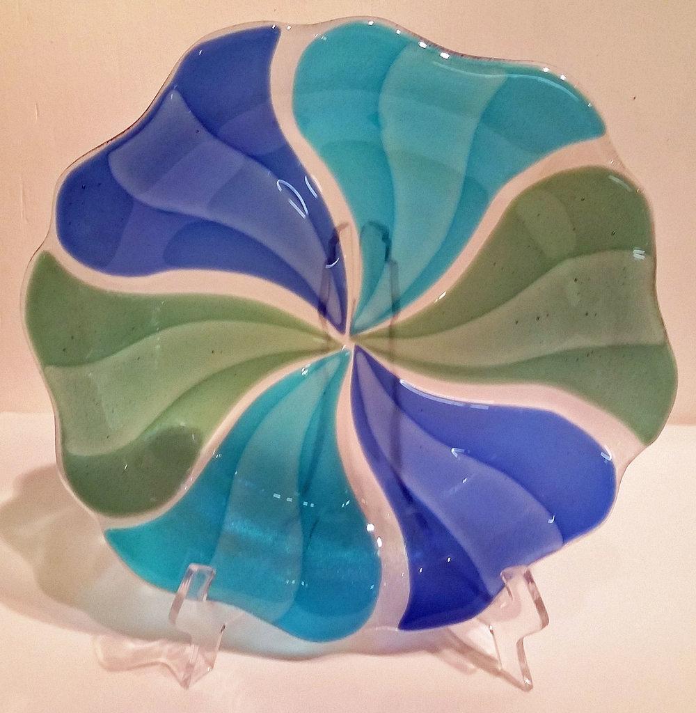 """Blues & Green Pinwheel Bowl ~ 12"""" Round ~ $125"""