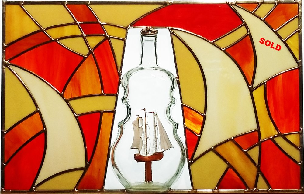 "Ship in a Cello Bottle ~ 12"" x 19"""