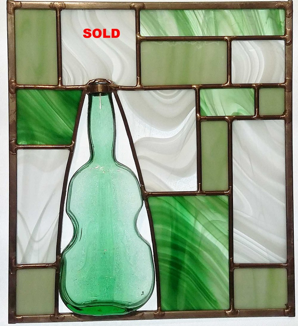 "Vintage Green ""Cello"" Bottle Panel ~ 9"" x 10"""