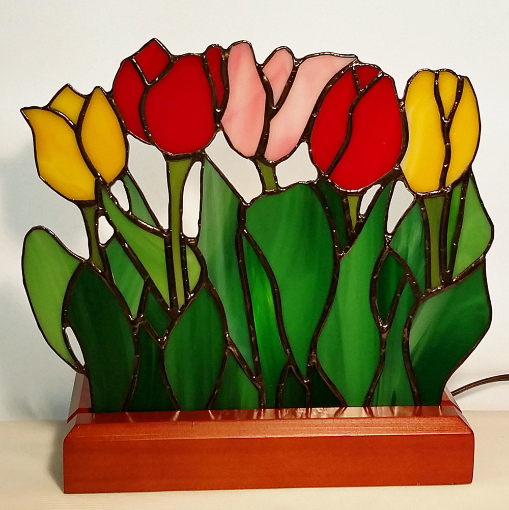 "Tulips Lamp ~ 9"" x 7"" ~ $210"