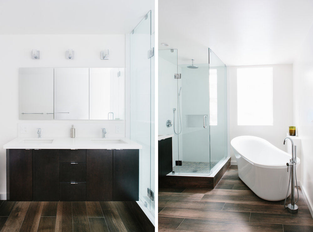bathroom with custom dark wood vanity and modern medicine cabinet and undermount sinks and chrome fixtures and stall shower and freestanding tub.jpg