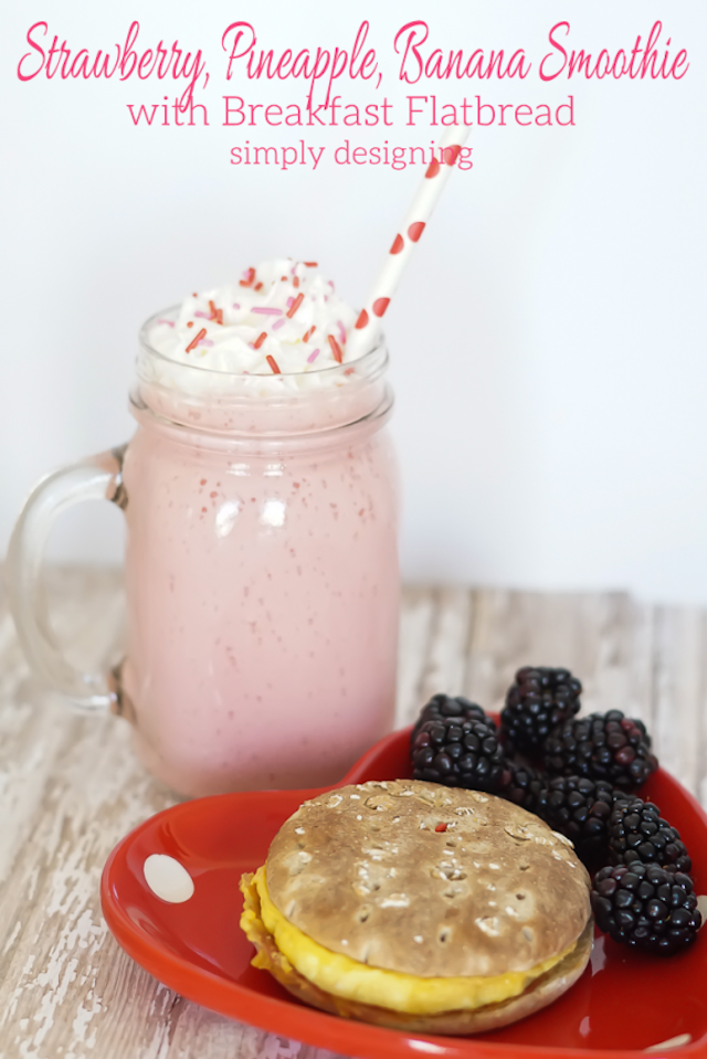 Strawberry-Pineapple-Banana-Smoothie-with-Egg-and-Bacon-Breakfast-Sandwich