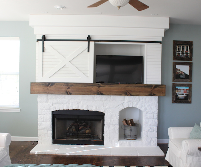 FIREPLACE MAKEOVER WITH BARN DOOR — Colors and Craft