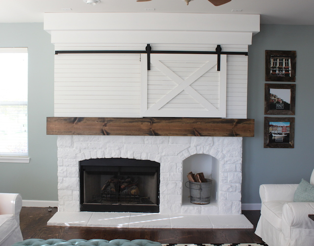 Fireplace Makeover With Barn Door Colors And Craft