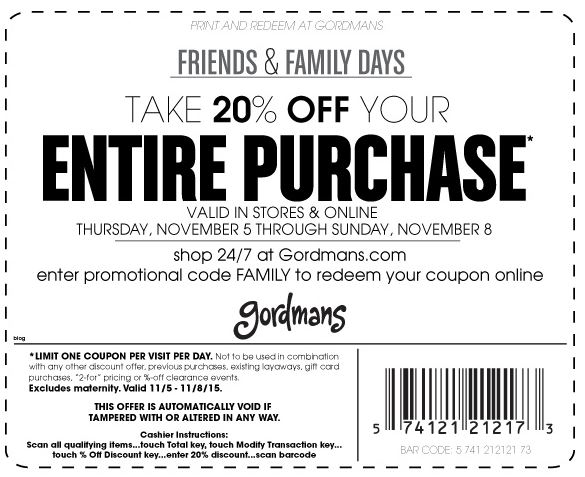 Friends and Family Days Coupon