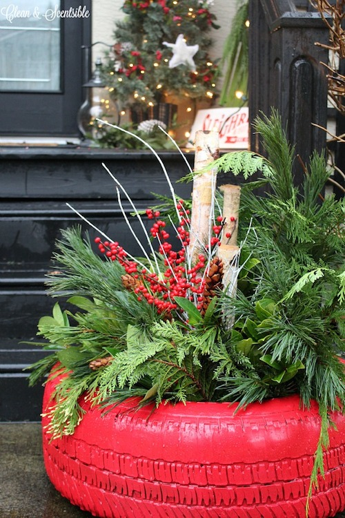 Tire-Christmas-Planter-5