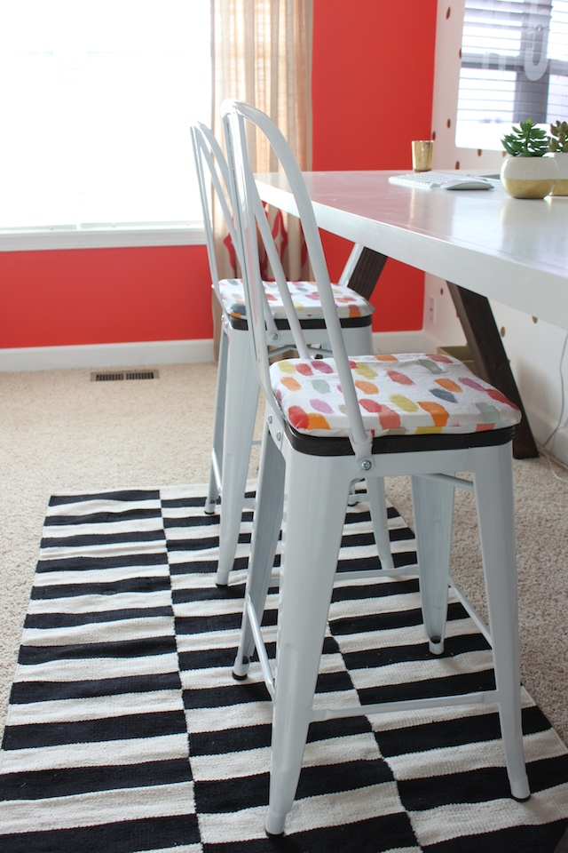 seat cushions for outdoor metal chairs. i just love these industrial metal chairs. they are so popular now, see them everywhere. have in my kitchen, husband has one his office and seat cushions for outdoor chairs