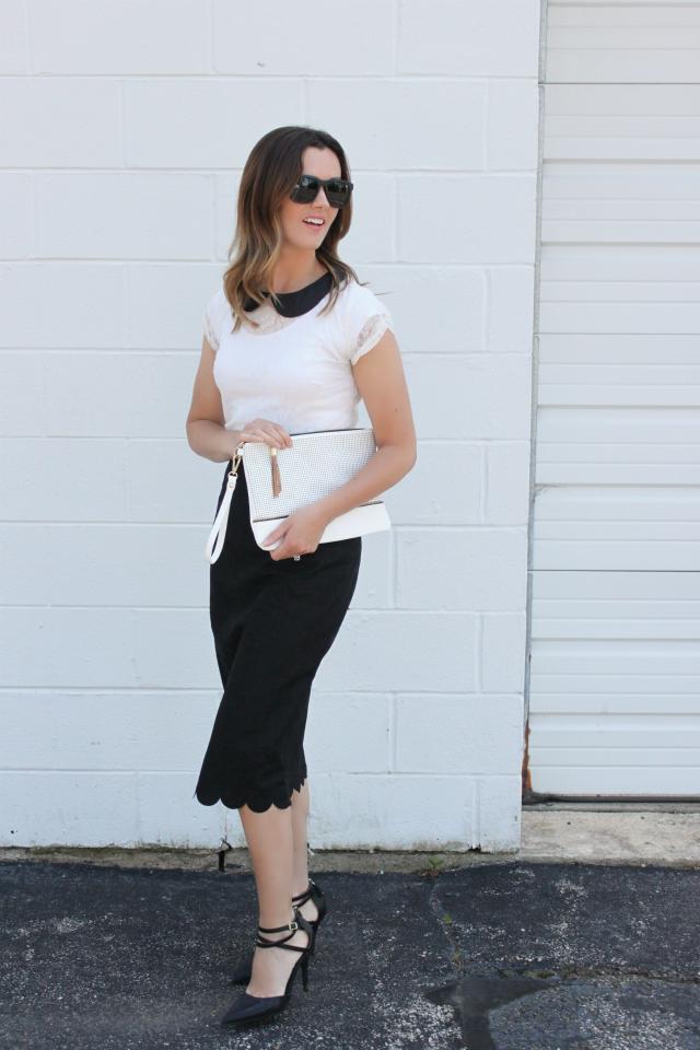 skirt: Dainty Jewells, top: Gordmans, clutch: Lulus,sunglasses: Firmoo