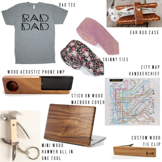 DAD TEE - SKINNY TIES - EAR BUD CASE - WOOD ACOUSTIC PHONE AMP - STICK ON WOOD MACBOOK COVER - CUSTOM WOOD TIE CLIP - CITY MAP HANDKERCHIEF - MINI WOOD HAMMER
