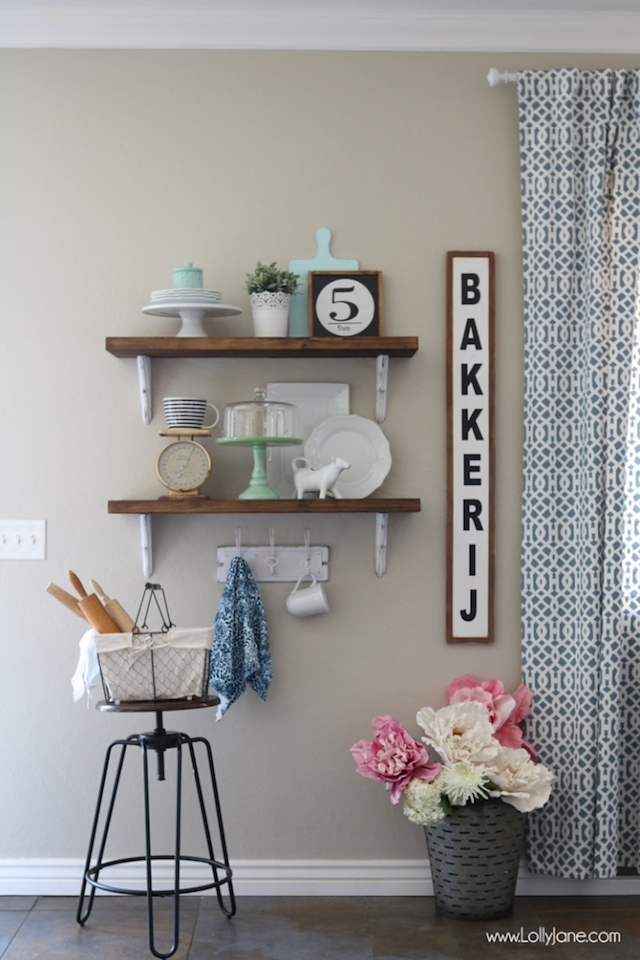 Farmhouse Chic Dining Room Shelves from Lolly Jane